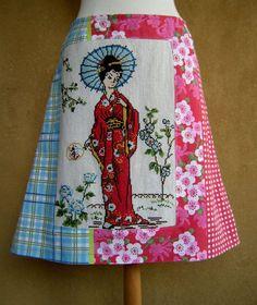 Geisha broderie jupe upcycle jupe trapèze téléphone par LUREaLURE