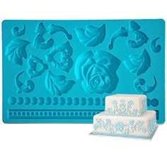 FOURC Silicone Molds Fondant and Gum paste Mat Fondant Tools Color Blue *** You can find more details by visiting the image link.