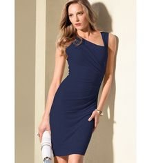NWOT! VS Blue Dress Victoria's Secret blue fitted knee length dress with asymmetrical neckline and gold zipper. Very flattering with ruching on side. Never worn! Victoria's Secret Dresses Midi
