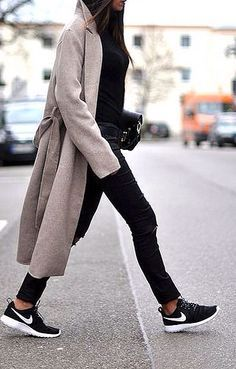 oatmeal coat, leather pants & Nike sneakers #style #fashion #streetstyle