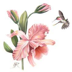 """Картины цветов ручной работы. Ярмарка Мастеров - ручная работа Батик-панно """"Орхидеи"""". Handmade."""