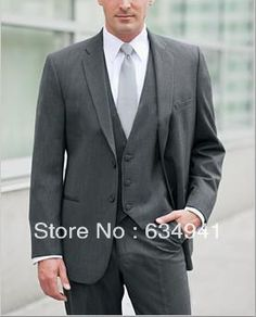 custom made cheap dark Grey new style men's suits/Wedding groom wear dress/Groomsmen Clothing/briDegroom tuxedos/free shipping -in Suits from Apparel Accessories on Aliexpress.com