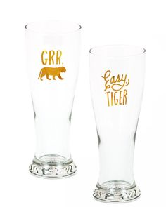 Gold Foil Pilsner Glasses - Grr & Easy Tiger