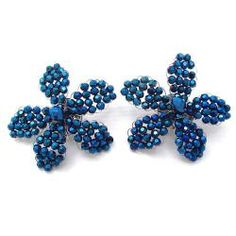 Metallic Blue Crystal Floral Radiance Clip-On Earrings (Thailand)