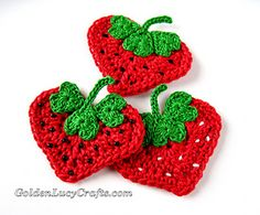 This Strawberry Applique is made from crocheted hearts of two different sizes. Just crochet hearts according to the instructions and then sew them together.