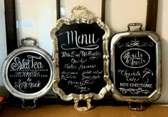 Silver Tray repurposed as menu board / sign for Wedding / Bridal Shower / event