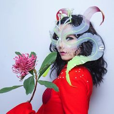 @bjork in montreal last night wearing the 'ghost orchid' headpiece / hand-embroidered plastic, wire & pearls /  by @santiagraphy
