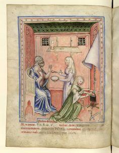 Nouvelle acquisition latine 1673, fol. 50v, Aliment : bouillie de froments. Tacuinum sanitatis, Milano or Pavie (Italy), 1390-1400.