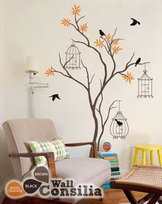 Baby Nursery Tree Wall Decal Tree Wall Sticker Mural Birdcage Tree Wall Art Wall… Baby Kinderzimmer Baum Wandtattoo Baum Wandaufkleber Wandbild Vogelkäfig Baum Wandkunst Wanddekoration – Groß: Ca. Tree Wall Painting, Tree Wall Art, Wall Art Decor, Room Decor, Simple Wall Paintings, Vinyl Decor, Diy Painting, Wall Stickers Murals, Nursery Wall Decals