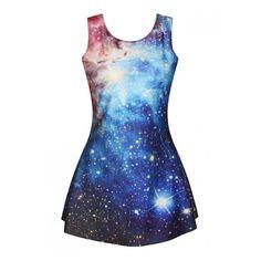 Galaxy Print Blue Sleeveless Round Neck Slim Mini Dress (82 CNY) ❤ liked on Polyvore featuring dresses, short blue dresses, galaxy print dress, blue mini dress, slimming dresses and slim fitting dresses