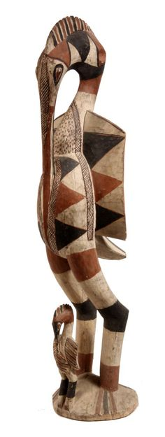 "Africa | ""Porpianong"" Hornbill Carving from the Senufo people of the Ivory Coast 