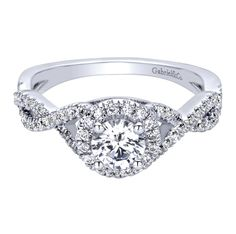 $1,340 without center || 14K White Gold Contemporary Halo Engagement Ring || Style ER9512W44JJ