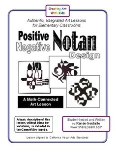 Positive-Negative Notan Design ~ a math-connected art lesson with opposites.