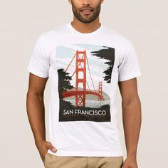 Shop San Francisco, CA - Golden Gate Bridge T-Shirt created by AndersonDesignGroup. Travel Design, Vintage Travel Posters, California Travel, San Francisco, Golden Gate Bridge, Vintage Advertisements, A Team, Fitness Models, Casual