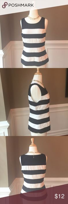 """Just in- White House Black Market top Classic top from WHBM. Black and white striped. Fully lined with hidden side zipper. This top pairs well with just about everything it is so versatile. Dry cleaner tag still attached. Worn once. New condition. 16"""" across bust, 23"""" long. White House Black Market Tops Tank Tops"""