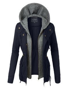 LE3NO Womens Lightweight Military Anorak Safari Jacket with Hoodie- navy in Large