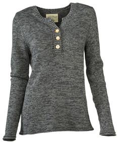 Natural Reflections Marled Henley Sweater for Ladies | Bass Pro Shops