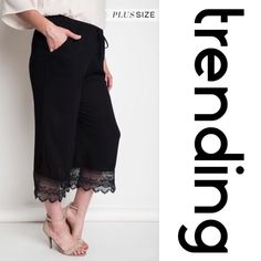 """LACE CAPRI PANT TRENDING! Lightweight, 60% cotton/40% polyester, these classic capris go anywhere. The hem is trimmed with beautiful lace. Elastic waistband, very comfortable. Dry clean only. ♦️XL: waist: 32-44"""" high hip 44"""" seat 52"""" inseam 11.5"""" rise 11.5""""♦️1X: waist 34-48"""" high hip 48"""" seat 58"""" inseam 23.5"""" rise 12""""♦️2X: waist 36-52"""" high hip 52"""" seat 64"""" inseam (Capri) 24"""" rise 12"""". PLEASE DO NOT BUY THIS LISTING, I will personalize one for you. tla2 Pants Capris"""
