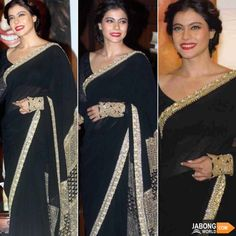 Eternally beautiful Kajol in a black saree, red lipstick for her film Dilwale's promotions! What do you think? Indische Sarees, Indie Mode, Drape Sarees, India Shopping, Black Saree, Indian Outfits, Indian Clothes, Bollywood Saree, Bollywood Celebrities