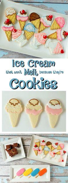 Ice Cream Cookies via www.thebearfootbaker.com