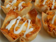 BBQ chicken bacon and ranch wonton cups by drizzle me skinny