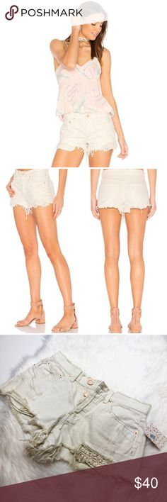 NWT Free People Cutoff Lace Daisy Chain Shorts Brand new with tags! Size 26. Off white cream denim. Distressed cutoff. Lace accent. Button fly in copper. No trades!! Free People Shorts Jean Shorts