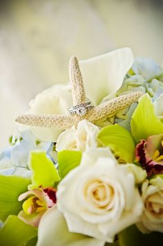 This wedding ring on starfish is perfect for a beach themed wedding. #Stunning