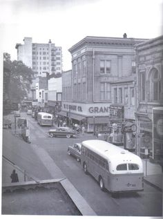 Mobile, Alabama in 1950s. Dauphin St. at Conception. Grant's Dept. Store, on the right, was the first Mobile store to have an escalator.