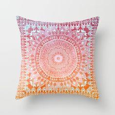 Spring Mandalika Throw Pillow by Nika Martinez #society6 #pillow #mandala #pink #orange #coachella #festival #bohemian #bohochic #bohohomes #homedecor #interiordesign