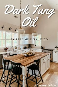 Check out this beautiful poplar wood butcher block kitchen island created by IG@franksonthelake. The Dark Tung Oil really accentuates the natural wood grain in the butcher block in this already polished kitchen. Dark Tung Oil adds depth to your grain and instantly has an aged look. Dark Tung Oil is the same as our Pure Tung Oil except that we have added a non-toxic naturally occurring resinous hydrocarbon for color. This finish is also food contact safe, water-resistant, and low maintenance. Pure Tung Oil, Real Milk Paint, Cut Above The Rest, Wood Finishing, Long Shelf, Natural Wood Finish, Wood Surface, Diy Food, Wood Grain