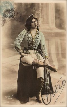 La Belle Otero Famous Belle Epoque Spanish Courtesan Smoking in Napoleonic Masculine Costume Original Rare 1900s Reutlinger French Postcard