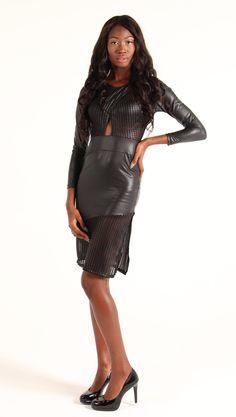 Long Sleeve Leatherette Dress