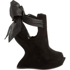 4600698aab1 Black Wedge Ribbon Sandal ( 419) ❤ liked on Polyvore featuring shoes