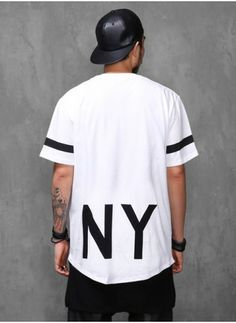Mens Elongated NY 1/2 Long T Shirt Extended at Fabrixquare