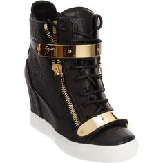 Giuseppe Zanotti Croc-Embossed Zip Wedge Sneaker at Barneys.com