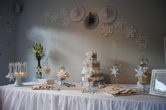 a Snowflake champagne high tea baby shower