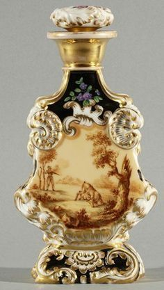 TWO POPOV PERFUME BOTTLES, c., both with gilt decoration, each perfume bottle depicts flowers on one side and a . Antique Perfume Bottles, Vintage Perfume Bottles, Parfum Mademoiselle, Perfumes Vintage, Beautiful Perfume, Bottle Art, Glass Bottles, Wine Bottles, Ceramic Pottery