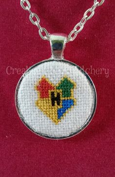 Cross Stitch Necklace  Book & Movie  Wizard by chaoticstitchery