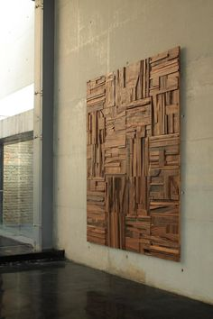 Feature Art Wall Coverings: Natural Parota Wood Collage Tiles by Peter Glassford Wooden Wall Art, Wooden Walls, Wooden Wall Panels, Wooden Wall Design, Reclaimed Wood Wall Art, Wood Sculpture, Wall Sculptures, Into The Woods, Tile Installation