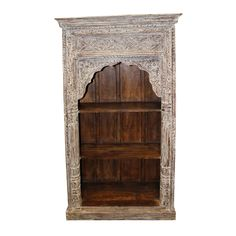 Vintage Rustic Arched Bookcase Ivory White Book Shelf For Sale Wooden Shelf Unit, Wooden Shelves, Brass Statues, Stone Statues, Antique End Tables, Antique Bookcase, Shelves For Sale, White Books, 1920s Art