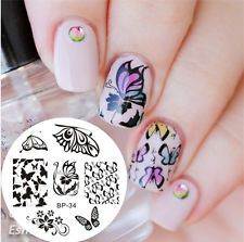 Nail Art Image Stamp Template Stamping Plates Manicure Romantic Butterfly BP-34
