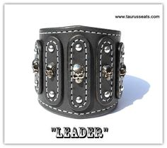 Mens Leather Cuff Bracelet, Bikers Wristband | Motorcycle Accessory | Leather Mens Bracelet, Bikers Cuff  | Skull Rivets, Silver Stitching