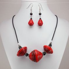 Paper Bead Necklace and Earring Set - Bright Red and Black with Leather Cord - Rwandan Paper Beads