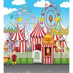 Circus Carnival Party, Carnival Rides, Carnival Birthday, Circus Theme, Muslin Backdrops, Fabric Backdrop, Custom Backdrops, Carnival Background, Kids Background