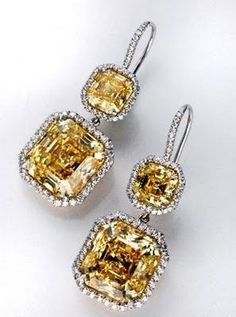 Harry Winston canary yellow diamond drop earrings!