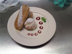 Eclair plated dessert