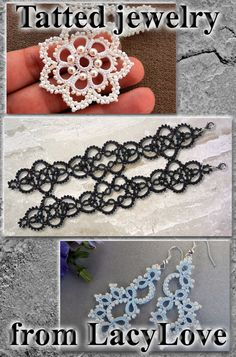 Original tatted jewelry - Tatting - Tatted earrings - Gothic jewelry - Original designs - Do not buy this listing