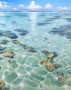 Light Cracks, Clear water lagoon painting artwork by Julie Kluh water Light Cracks, Original & Prints Watercolor Landscape, Landscape Art, Landscape Paintings, Watercolor Paintings, Watercolor Ocean, Acrylic Paintings, Water Drawing, Water Art, In Water