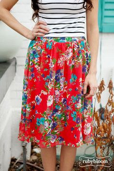 Red Floral Skirt –Ruby Bloom Boutique with striped tee