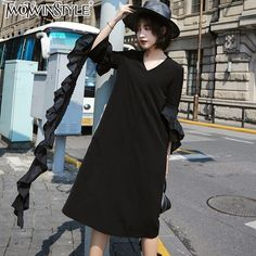 Better Price $58.72, Buy TWOTWINSTYLE Ruffles Big Size Midi Dress Women Black Butterfly Sleeve V Neck Fall Dresses Female Straight Casual Clothes Fashion